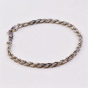 7-75-5mm-Vtg-Sterling-Silver-bracelet-925-Italy-Diamond-Rope-chain