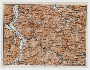 ANTIQUE MAP VICINITY OF BAD RAGAZ CHUR LIECHTENSTEIN ALPS - Chur map