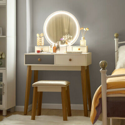Vanity Table Set 3 Color Lighting Modes Makeup Stool Jewelry Divider Ebay