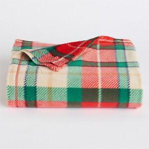 """St Nicholas Square Red Fleece Throw 50x60/"""" Christmas Tree Holiday Blanket NIP"""