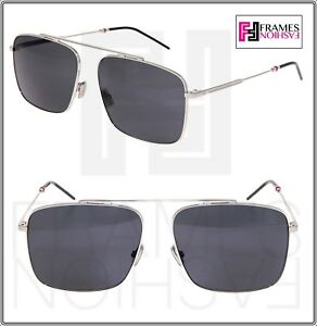 7c066b6ef9 Image is loading DIOR-HOMME-0220S-Palladium-Black-Square-Metal-Sunglasses-