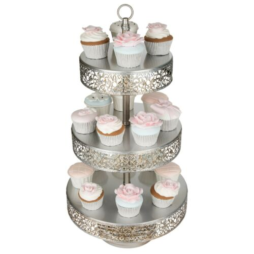 3-Tier Cupcake Stand Metal Cake Dessert Wedding Event Party Display Tower Plate