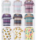 Summer Women's Fashion Loose Cotton Sleeve Print T-Shirt Tee Blouse Tops