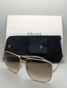 02aada42dd9c New CELINE Sunglasses CL 41808 S J5GXY 61-15 140 Gold Aviator w ...