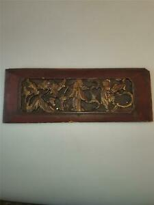 Antique CHINESE Exquisite Carved Gilt Wood Temple Panel