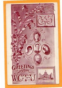 Temperance Prohibition Postcard - WCTU of Iowa with Officers
