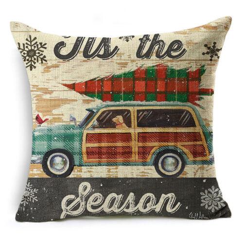 Weihnachten Kissenbezug Baumwolle Leinen Kissen Kissenbezug Throw Home Decor Yd