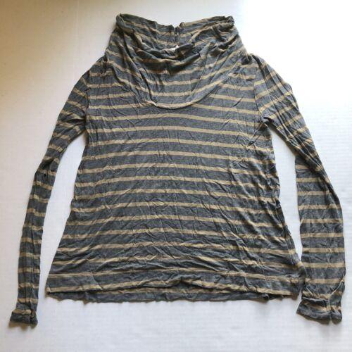 Soft Joie Gray Brown Stripe Cowl Neck Long Sleeve Top Women's Sz S A128
