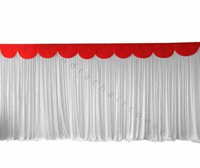 3m Rosso Staccabile Swag Per Nozze Fondali, Torta E Parte Superiore Della Tabella Gonne-