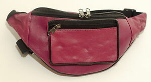 New-Pink-Full-Soft-Leather-Extra-Strong-Bumbag-Bum-Bag-Zipped-Pockets