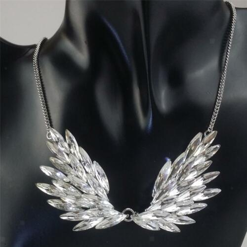 Fashion Large Rhinestone Angel Wing Pendant Statement Necklace Accessories