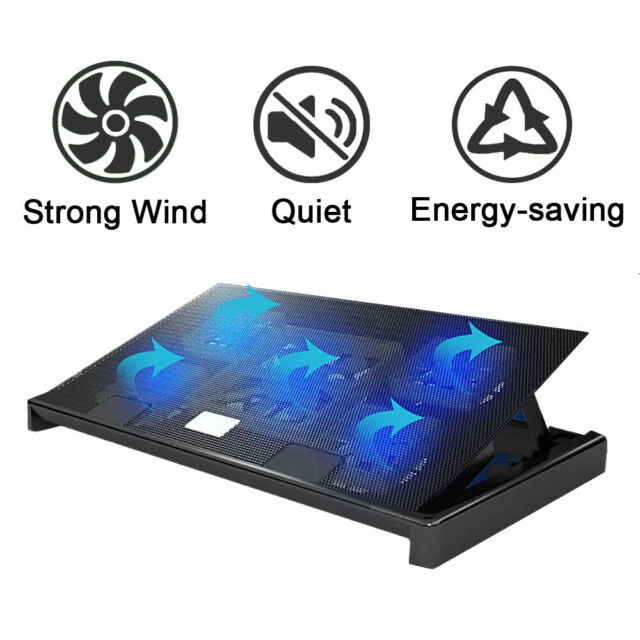 Laptop Cooling Pad 5 Fans Cooler Stand USB Stand LED Fan Mat 12/'/' 17/'/' Inch Blue