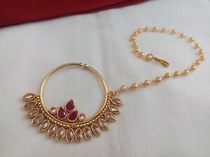 Bollywood Indian Bridal Nath Gold Plated Wedding Polki Nose Ring