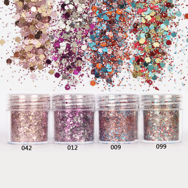10ml/Box Nail Art Glitter Powder Pink Rose Red Mixed Sequins Manicure Tips