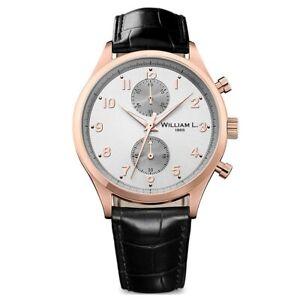 William-L-1985-Men-039-s-Watch-Vintage-Chronograph-Black-Leather-Strap-WLOR02GOCN