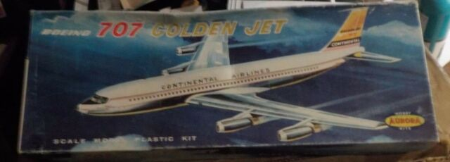 "REPRODUCTION DECALS : AURORA '61 CONTINENTAL AIRLINES BOEING 707 ""GOLDEN JET"""
