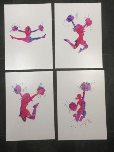 Pom-pom girls Imprimer Cheer 4 x a4 Brillant Poster Photo Aquarelle 9 sans cadre