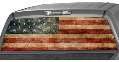 AMERICAN FLAG old canvas star banner Rear Window perforated Decal graphic Truck
