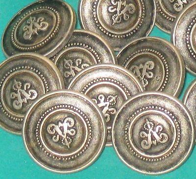 "Set 16 FANCY Vintage Antiqued SILVER Metal lot new buttons 5/8"""