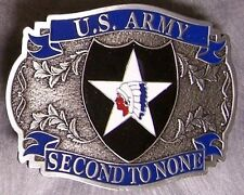Military Belt Buckle Pewter 2nd Second Infantry emblem NEW - MADE IN THE U.S.A.