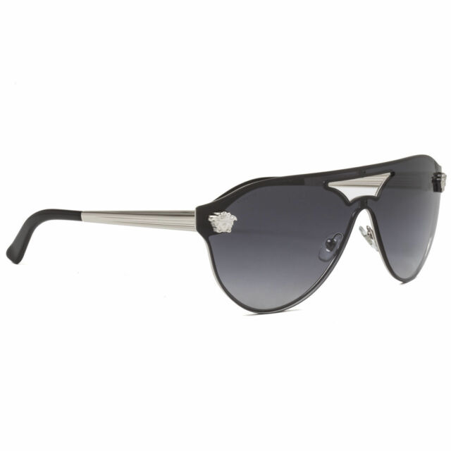 fc6fe28e92f15 NEW Authentic VERSACE Rock Icons Silver Black Aviator Sunglasses VE 2161  1000 8G