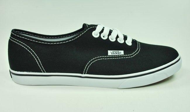 Vans Chaussures Authentic Lo Pro Canvas Femme Homme Noir True Blanc Sneakers
