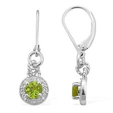 Natural Peridot & White Topaz Green Jared Unique sterling silver earrings
