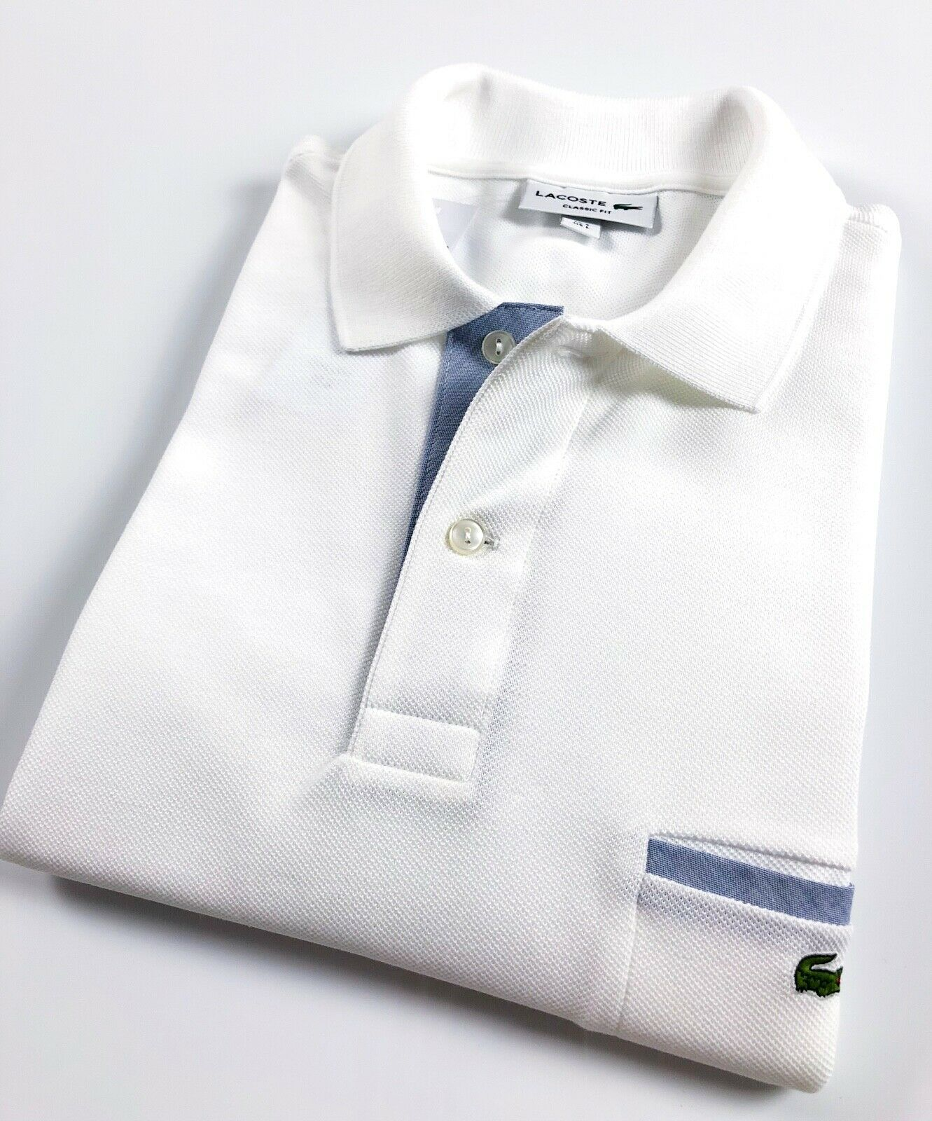Lacoste Polo Shirt Men's Classic Fit White PiqueContrast Details PH1981-00E7Q