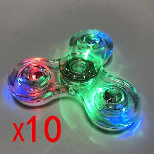 Wholesale 10pcs/lot Transparent Crystal LED Fidget Hand Spinner Rainbow Finger