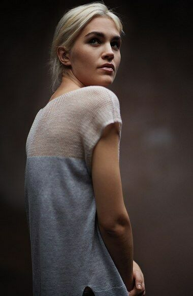 Eileen Fisher New Dark Pearl Bateau Neck Linen Delave Top Plus  3X