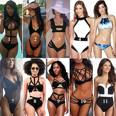 Sexy Womens Bandage High Waisted Bikini Push-up Padded Bra Monokini Bathing Suit