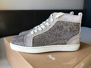 separation shoes 27c9b 21a6a Details about Mens Christian Louboutin Suede Gray Swarovski Strass Sneakers  Size 41.5 ($3295)