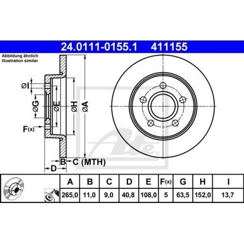 1 Stück ATE 24.0111-0155.1 Bremsscheibe