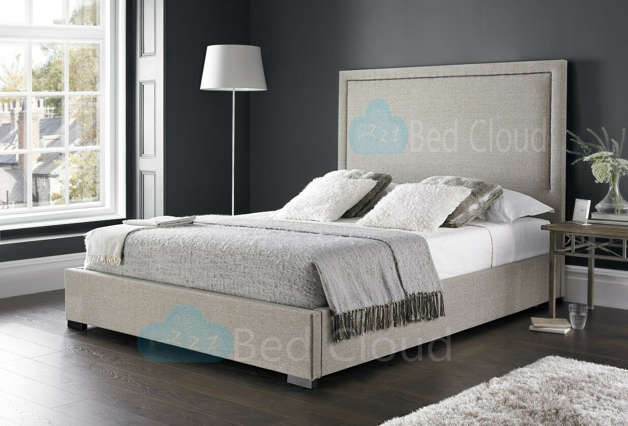 sports shoes 8d4ee f6316 Details about Geneva 4FT6 Double Bed With Studded Headboard in Various  Colours and Fabrics