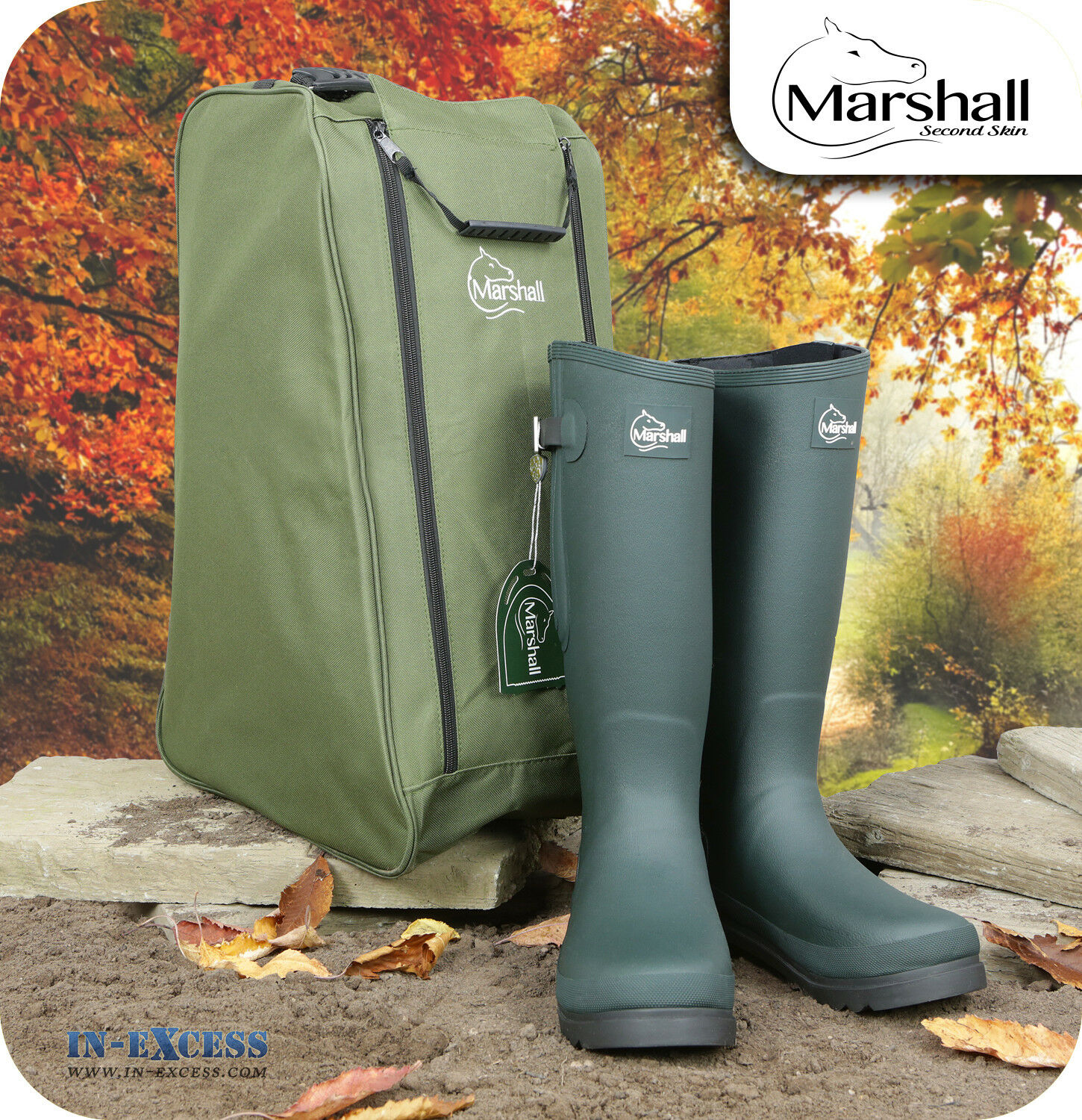 Marshall Wilton Neoprene Lined Green Wellington Boots Size 8 Free Boot Bag