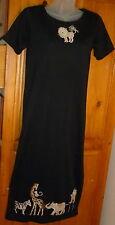 LISA INTERNATIONAL Black Knit Applique CIRCUS DRESS Lion Giraffe Clown Zebra PS