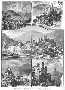 Neckartal-ansichten Neckargerach Neckarsteinach Hirschhorn Orig-holzstich 1884 AusgewäHltes Material