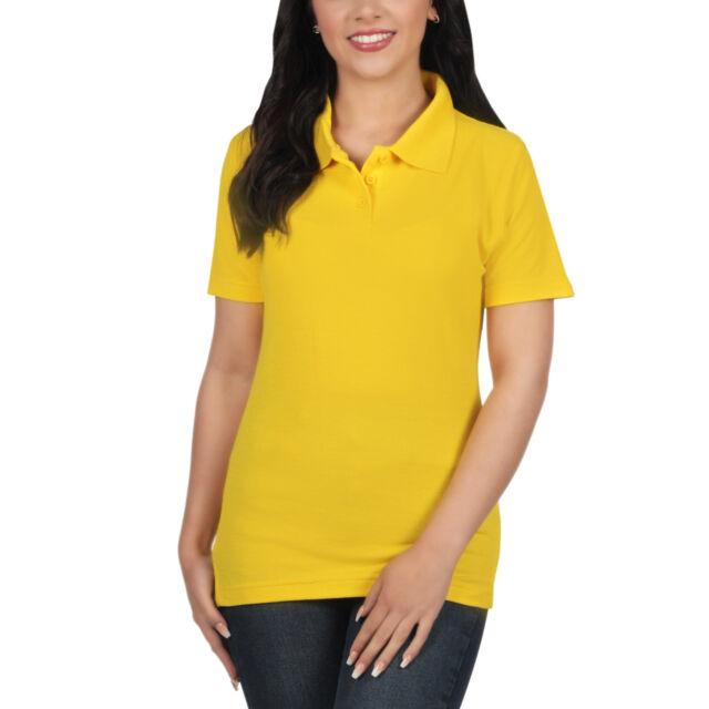 001f01e8 Ladies Polo Shirt Short Sleeve Womens Plain Pique Classic Top T ...