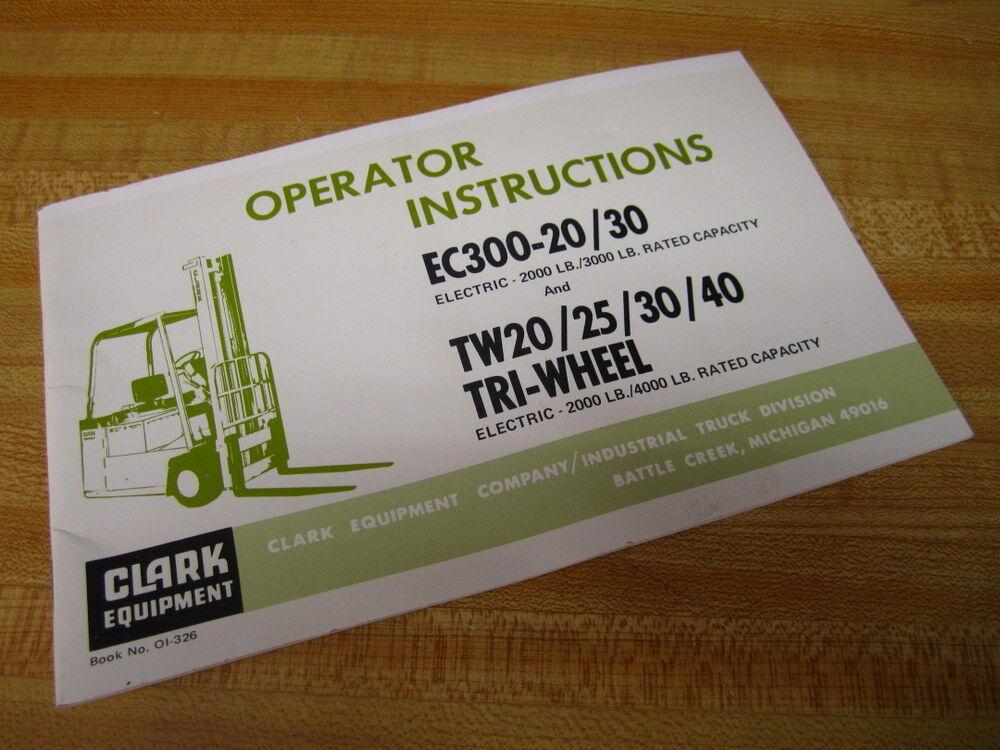 Clark OI-326 Operator Instructions OI326