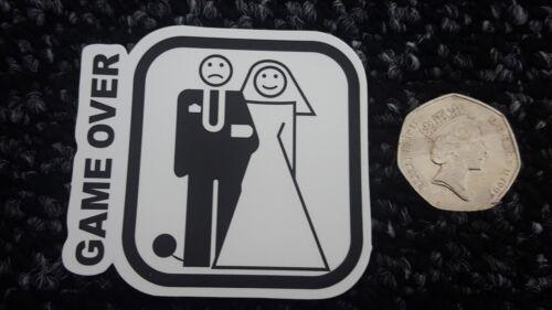 Car Laptop Van Skateboard Sticker Badge Wedding Game Over Funny