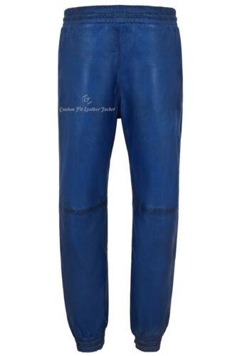 Hommes Cuir Véritable Pantalon Bleu Napa Sweat Track Pant Zip Jogging Bas 3040