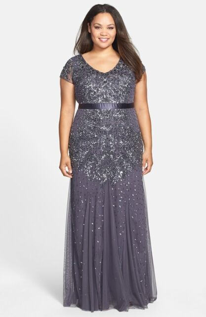 0c73107850 NWOT charcoal gunmetal Adrianna Papell Beaded V-Neck Gown (Plus Size) size  16W