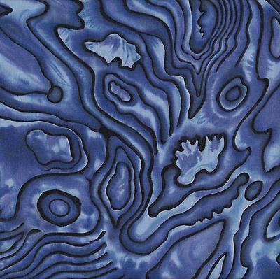 New Zealand Paua Shell Design Nature Blue NZ Quilt Fabric Craft FQ or Metre NEW