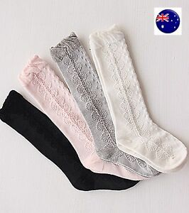 Girl-Kid-baby-White-Pink-knees-Calf-High-Cotton-long-Socks-Tights-0-24months