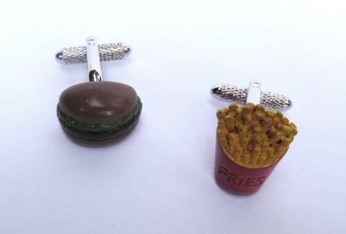 """/""""Hamburguesa Y Papas Fritas/"""" Plata Metal de estilo gemelos en un regalo box-new Chef/'s Regalo"""
