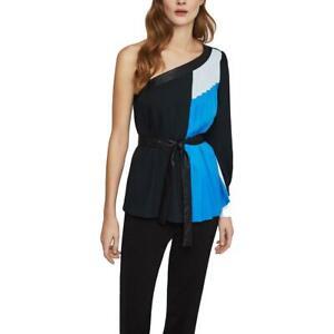 BCBG Max Azria Womens Black Colorblock Shutterpleat Blouse Top XS BHFO 4070