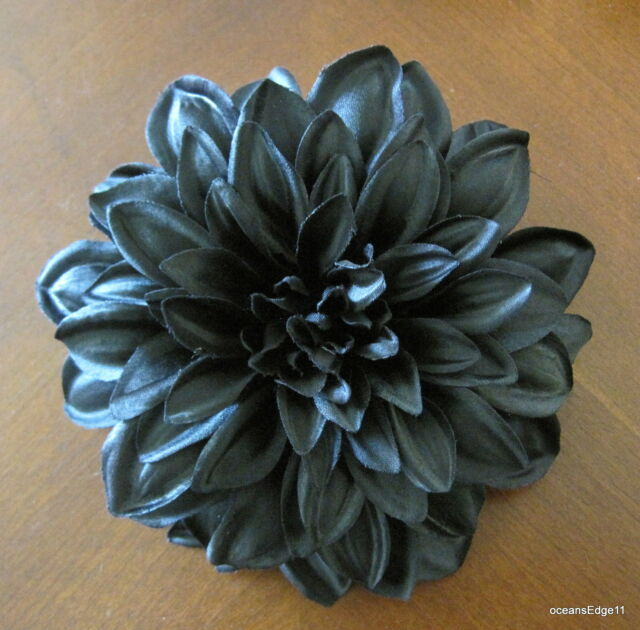 "4.5"" Jet Black Poly Silk Dahlia Flower Hair Clip,Pin Up,Updo,Goth"