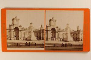 Italia-Napoli-Place-Monumento-Dante-c1875-Foto-Brogi-Stereo-Vintage-Albumina