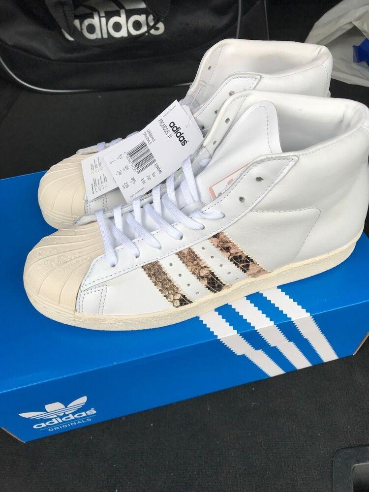Adidas Femme Superstar promodel Blanc Hi Top Entièrement neuf dans sa boîte UK 5 5.5 US 6.5 7-