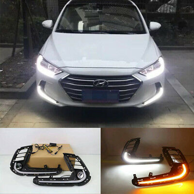 200lm~300lm White Yellow ABS Car Dual LED DRL Daytime Running Fog Lamp w//Turn Signal Assy Light For 2017-2018 Hyundai Elantra USA STOCK